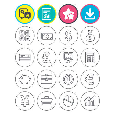 Report, download and star signs. Money and business icons. Cash and cashless money. Usd, eur, gbp and jpy currency exchange. Presentation, calculator and shopping cart symbols. Vector