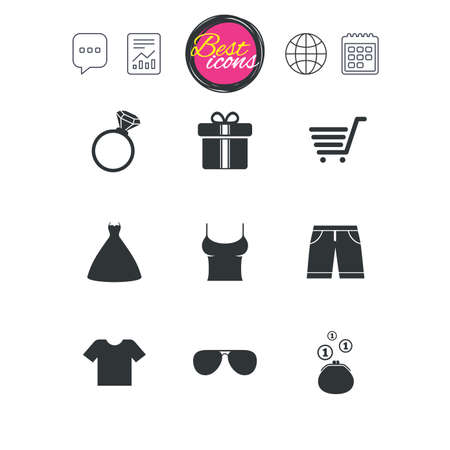 Chat speech bubble, report and calendar signs. Clothes, accessories icons. T-shirt, sunglasses signs. Wedding dress and ring symbols. Classic simple flat web icons. Vector