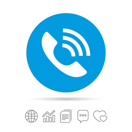 Phone sign icon. Support symbol. Call center. Copy files, chat speech bubble and chart web icons. Vector