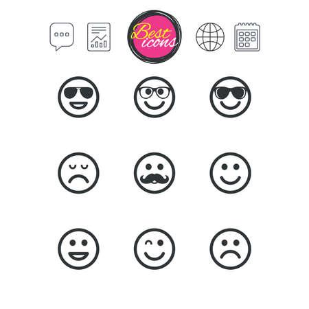 チャット音声バブル チャート、レポートおよびカレンダーのサイン。笑顔のアイコン。幸せ、悲しい、ウインク印に直面しています。サングラス、  イラスト・ベクター素材