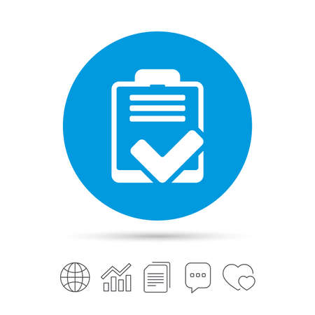 Checklist sign icon. Control list symbol. Survey poll or questionnaire feedback form. Copy files, chat speech bubble and chart web icons. Vector Çizim