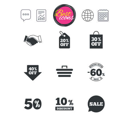 reductions: Chat speech bubble, report and calendar signs. Sale discounts icon. Shopping, handshake and cart signs. 10, 50 and 60 percent off. Special offer symbols. Classic simple flat web icons. Vector