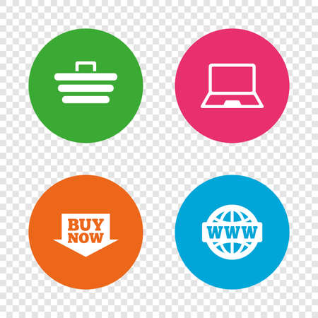 Online shopping icons. Notebook pc, shopping cart, buy now arrow and internet signs. WWW globe symbol. Round buttons on transparent background. Vector Illustration