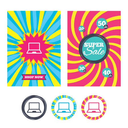 Sale banners and labels. Special offer tags. Laptop sign icon. Notebook pc symbol. Colored web buttons. Vector