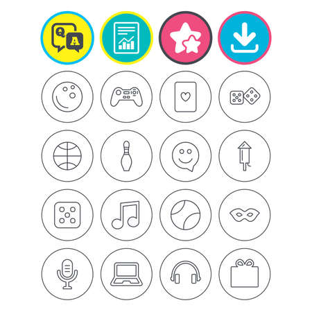 Report, download and star signs. Entertainment icons. Game console joystick, notebook and microphone symbols. Poker playing card, dice and mask thin outline signs. Vector
