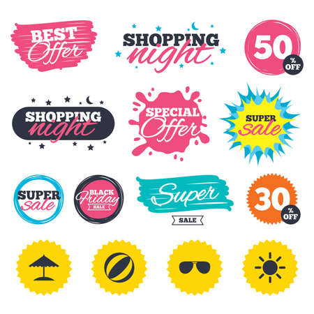 Sale shopping banners. Special offer splash. Beach holidays icons. Ball, umbrella and sunglasses signs. Summer sun symbol. Web badges and stickers. Best offer. Vector