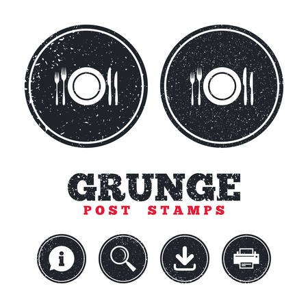 Grunge post stamps. Plate dish with forks and knifes. Eat sign icon. Cutlery etiquette rules symbol. Information, download and printer signs. Aged texture web buttons. Vector Illustration
