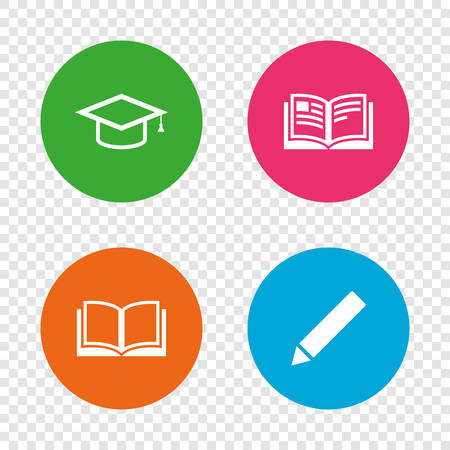 Pencil and open book icons. Graduation cap symbol. Higher education learn signs. Round buttons on transparent background. Vector 向量圖像