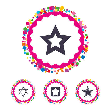 Web buttons with confetti pieces. Star of David icons. Sheriff police sign. Symbol of Israel. Bright stylish design. Vector
