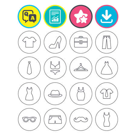 Report, download and star signs. Clothes and accessories icons. Shirt with tie, pants and woman dress symbols. Hat, hanger and glasses thin outline signs. Underwear and maternity clothes. Vector Illusztráció