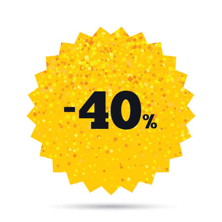 40: Gold glitter web button. 40 percent discount sign icon. Sale symbol. Special offer label. Rich glamour star design. Vector Illustration