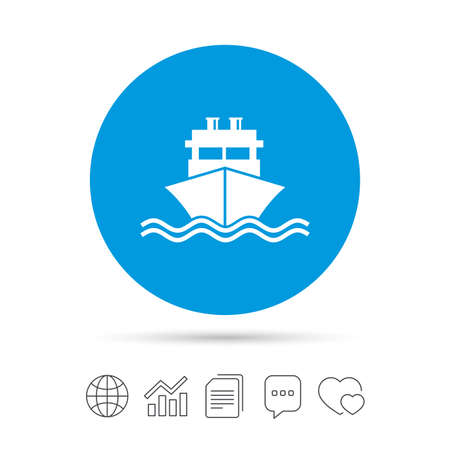 Ship or boat sign icon. Shipping delivery symbol. With chimneys or pipes. Copy files, chat speech bubble and chart web icons. Vector