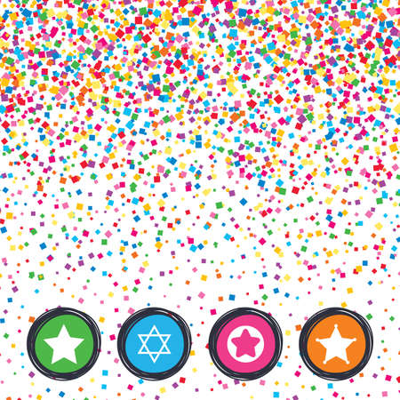 Web buttons on background of confetti. Star of David icons. Sheriff police sign. Symbol of Israel. Bright stylish design. Vector Illustration