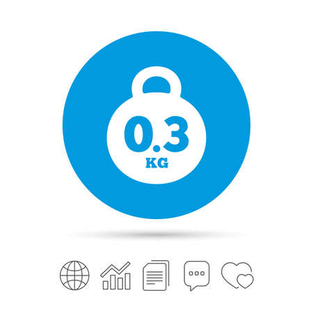 Weight sign icon. 0.3 kilogram (kg). Envelope mail weight. Copy files, chat speech bubble and chart web icons. Vector