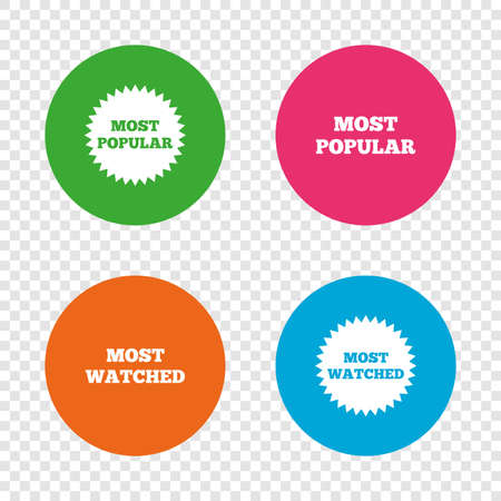 가장 인기있는 별 아이콘입니다. 가장 많이 본 심볼. 고객 또는 사용자가 선택한 표지판. 투명 한 배경에서 라운드 단추입니다. 벡터 일러스트