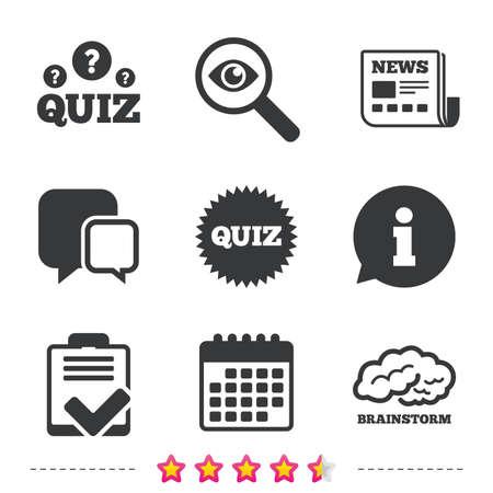 アイコンをクイズします。ブレイン ストームか人間と思う。チェックリストのシンボル。世論調査やアンケートのフィードバック フォームを調査し  イラスト・ベクター素材