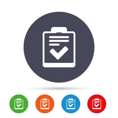 Checklist sign icon. Control list symbol. Survey poll or questionnaire feedback form. Round colourful buttons with flat icons. Vector Çizim