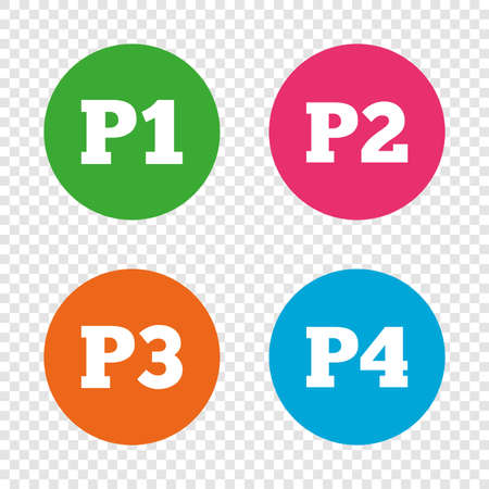 Car parking icons. First, second, third and four floor signs. P1, P2, P3 and P4 symbols. Round buttons on transparent background. Vector