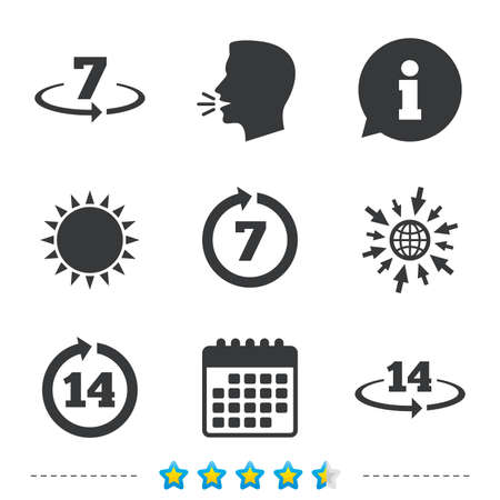 Return of goods within 7 or 14 days icons. Warranty 2 weeks exchange symbols. Information, go to web and calendar icons. Sun and loud speak symbol. Vector