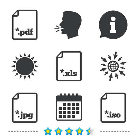 Download document icons. File extensions symbols. PDF, XLS, JPG and ISO virtual drive signs. Information, go to web and calendar icons. Sun and loud speak symbol. Vector