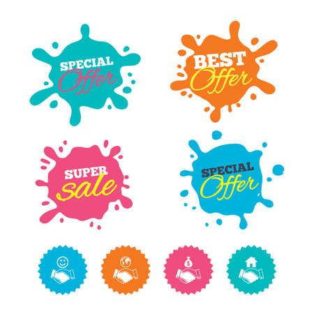 Best offer and sale splash banners. Handshake icons. World, Smile happy face and house building symbol. Dollar cash money bag. Amicable agreement. Web shopping labels. Vector Illustration