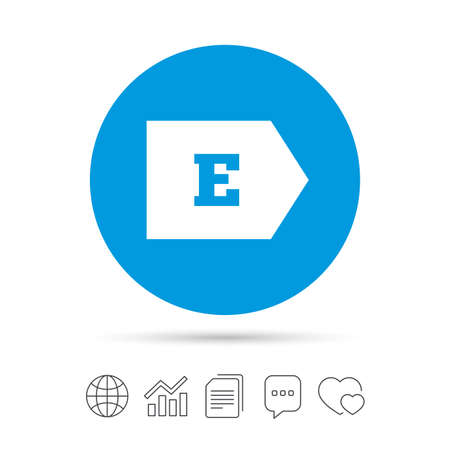 Energy efficiency class E sign icon. Energy consumption symbol. Copy files, chat speech bubble and chart web icons. Vector Illustration