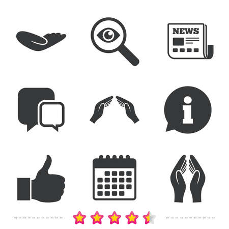 good news: Hand icons. Like thumb up symbol. Insurance protection sign. Human helping donation hand. Prayer hands. Newspaper, information and calendar icons. Investigate magnifier, chat symbol. Vector Illustration