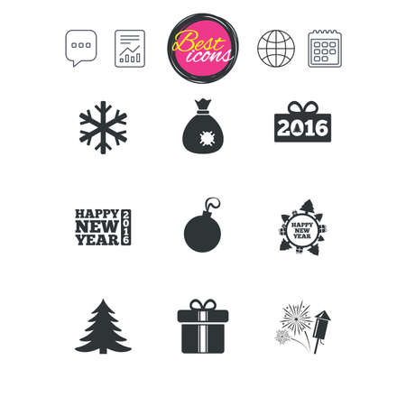 Chat speech bubble, report and calendar signs. Christmas, new year icons. Gift box, fireworks and snowflake signs. Santa bag, salut and decoration ball symbols. Classic simple flat web icons. Vector Çizim