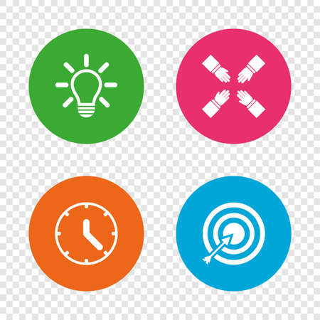 Lamp idea and clock time icons. Target aim sign. Darts board with arrow. Teamwork symbol. Round buttons on transparent background. Vector