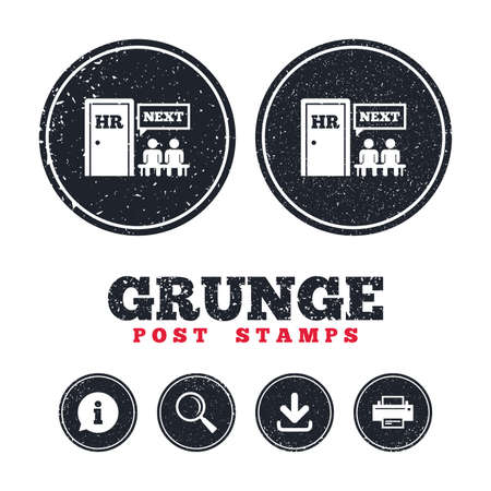Grunge post stamps. Human resources sign icon. Queue at the HR door symbol. Workforce of business organization. Information, download and printer signs. Aged texture web buttons. Vector Illustration