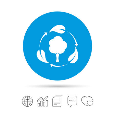 Fresh air sign icon. Forest tree with leaves symbol. Copy files, chat speech bubble and chart web icons. Vector Illustration