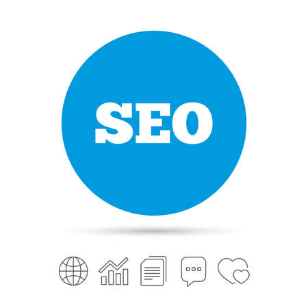 SEO sign icon. Search Engine Optimization symbol. Copy files, chat speech bubble and chart web icons. Vector