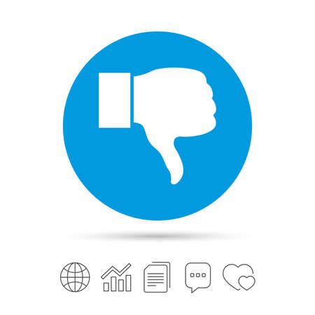 Dislike sign icon. Thumb down sign. Hand finger down symbol. Copy files, chat speech bubble and chart web icons. Vector Ilustração