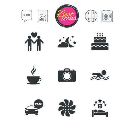 Chat speech bubble, report and calendar signs. Hotel, apartment service icons. Swimming pool. Ventilation, birthday party and gay-friendly symbols. Classic simple flat web icons. Vector Ilustrace