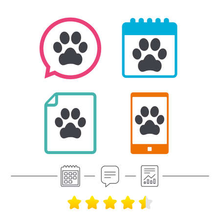 dog allowed: Dog paw sign icon. Pets symbol. Calendar, chat speech bubble and report linear icons. Star vote ranking. Vector Illustration