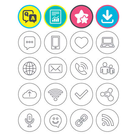 Report, download and star signs. Communication icons. Smartphone, laptop and speech bubble symbols. Wi-fi and Rss. Online love dating, mail and globe thin outline signs. Vector Illustration