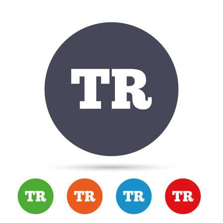 Turkse taal teken pictogram. TR Turkije vertaalsymbool. Ronde kleurrijke knoppen met plat pictogrammen. Vector