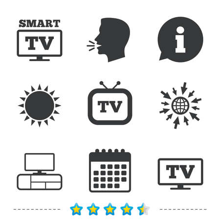 Smart TV mode icon. Widescreen symbol. Retro television and TV table signs. Information, go to web and calendar icons. Sun and loud speak symbol. Vector