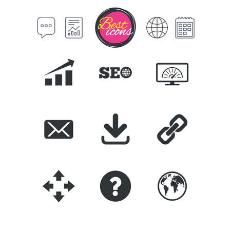 Chat speech bubble, report and calendar signs. Internet, seo icons. Bandwidth speed, download arrow and mail signs. Hyperlink, monitoring symbols. Classic simple flat web icons. Vector