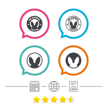 No animals testing icons. Non-human experiments signs symbols. Calendar, internet globe and report linear icons. Star vote ranking. Vector