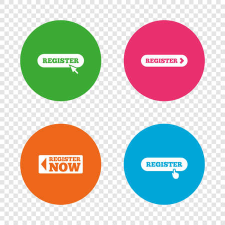Register with hand pointer icon. Mouse cursor symbol. Membership sign. Round buttons on transparent background. Vector Illustration