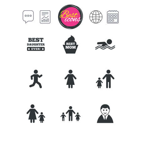 mother and baby: Chat speech bubble, report and calendar signs. People, family icons. Swimming pool, person signs. Best mom, father and mother symbols. Classic simple flat web icons. Vector