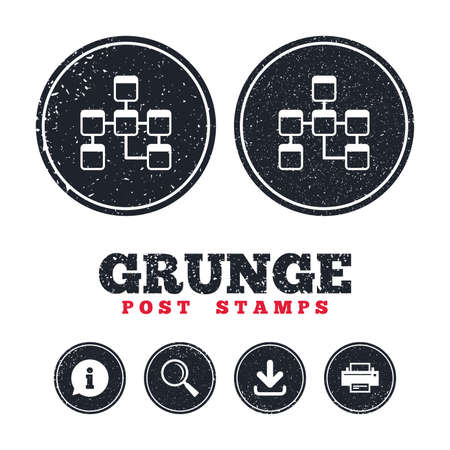 Grunge post stamps. Database sign icon. Relational database schema symbol. Information, download and printer signs. Aged texture web buttons. Vector
