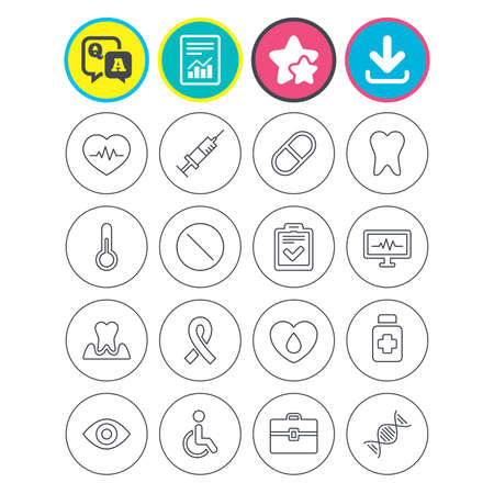 Report, download and star signs. Medicine icons. Syringe, heartbeat and pills symbols. Tooth health, eye and blood donate. Awareness ribbon. Question and answer or Q&A symbol. Flat buttons. Vector