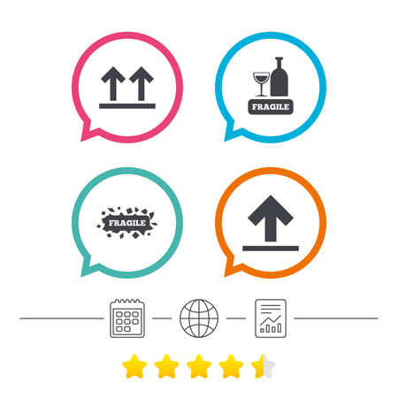 Fragile icons. Delicate package delivery signs. This side up arrows symbol. Calendar, internet globe and report linear icons. Star vote ranking. Vector