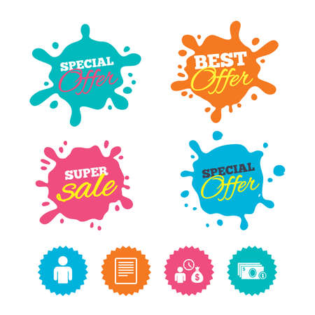 Best offer and sale splash banners. Bank loans icons. Cash money bag symbol. Apply for credit sign. Fill document and get cash money. Web shopping labels. Vector
