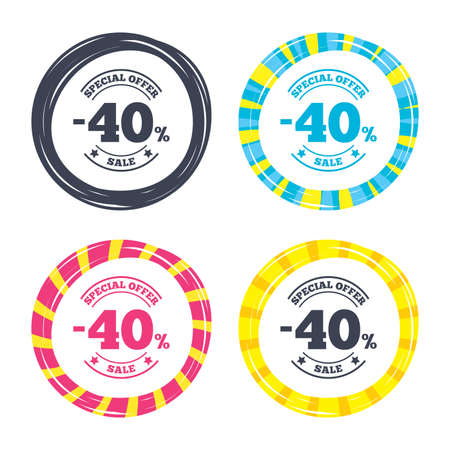 40: 40 percent discount sign icon. Sale symbol. Special offer label. Colored buttons with icons. Poker chip concept. Vector