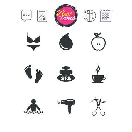 チャット音声バブル チャート、レポートおよびカレンダーのサイン。スパ、美容のためのアイコン。スイミング プールの標識です。ランジェリー、