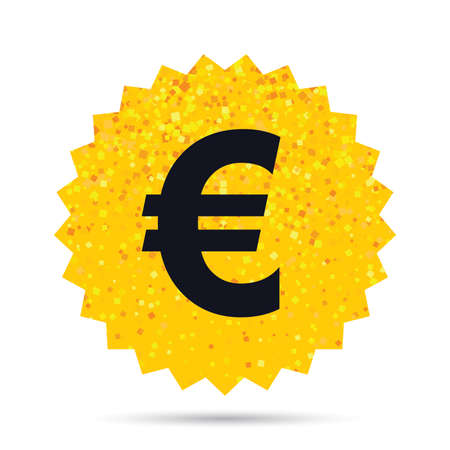 Gold glitter web button. Euro sign icon. EUR currency symbol. Money label. Rich glamour star design. Vector