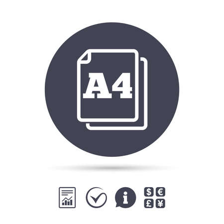 Paper size A4 standard icon. File document symbol. Report document, information and check tick icons. Currency exchange. Vector Ilustração